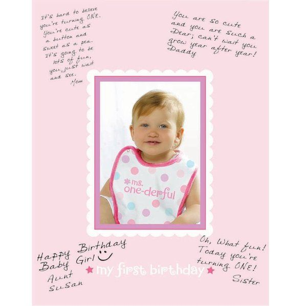 Check out 1st Birthday Girl Autograph Matte - Discount Birthday Party Decorations and Supplies from Wholesale Party Supplies