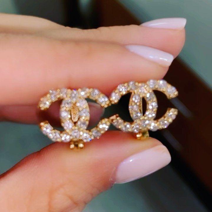 Sam On Instagram Custom Chanel Earrings Made In 14k Gold With 1 Carat Of Vs Diamonds Chanel Earrings Girly Jewelry Chanel Earrings Cute Jewelry