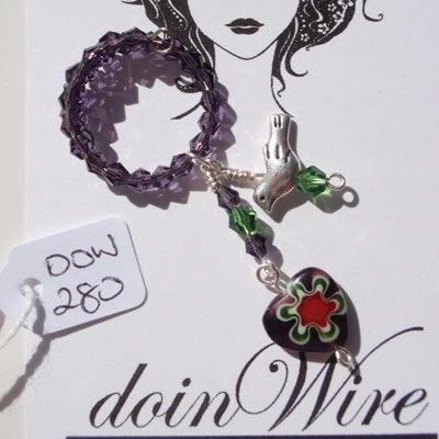 doinWire Wine Charm Purple crystals, green crystals and purple glass heart. DOW280