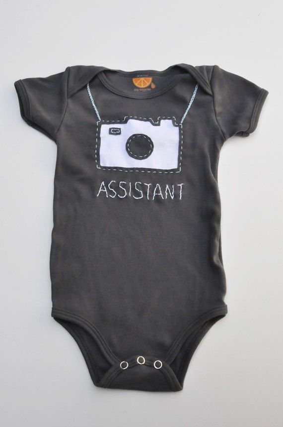 Camera handstitched onesie by amytangerine on Etsy, $40.00