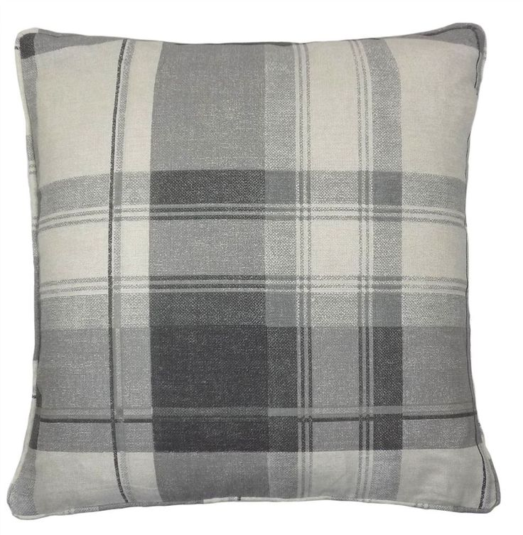 2 X TARTAN CHECK COTTON SILVER GREY CUSHION COVERS TO MATCH CURTAINS DRAPES 17