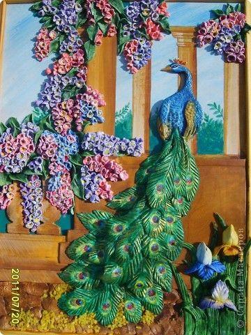 Картина панно рисунок Лепка павлин в саду соленое тесто Тесто соленое фото 2
