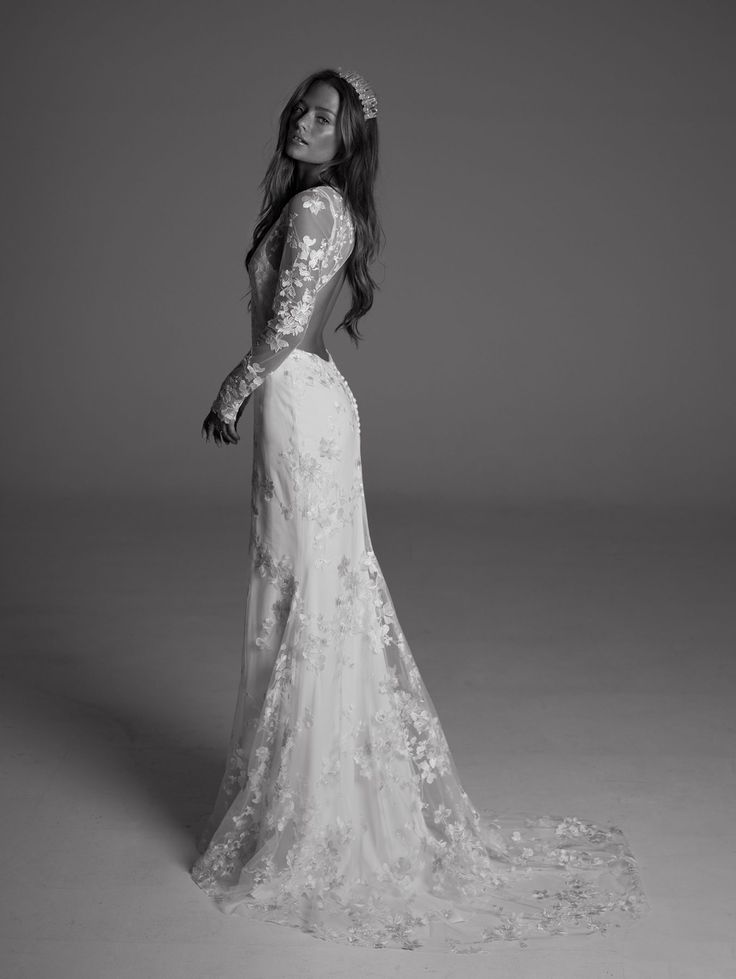 FOR THE DRESS || Long sleeve lace with open by by Rime Arodaky || NOVELA BRIDE...where the modern romantics play & plan the most stylish weddings...www.novelabride.com @novelabride #jointheclique