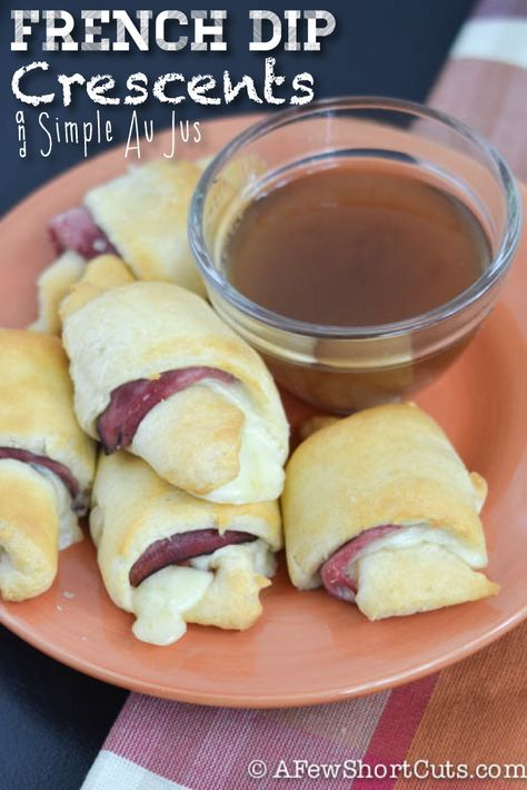 French Dip Crescents and Simple Au Jus Recipe. Perfect appetizer or lunch for game day