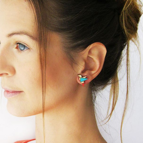 Hand painted, laser cut, plywood earrings by ALIZI DESIGN