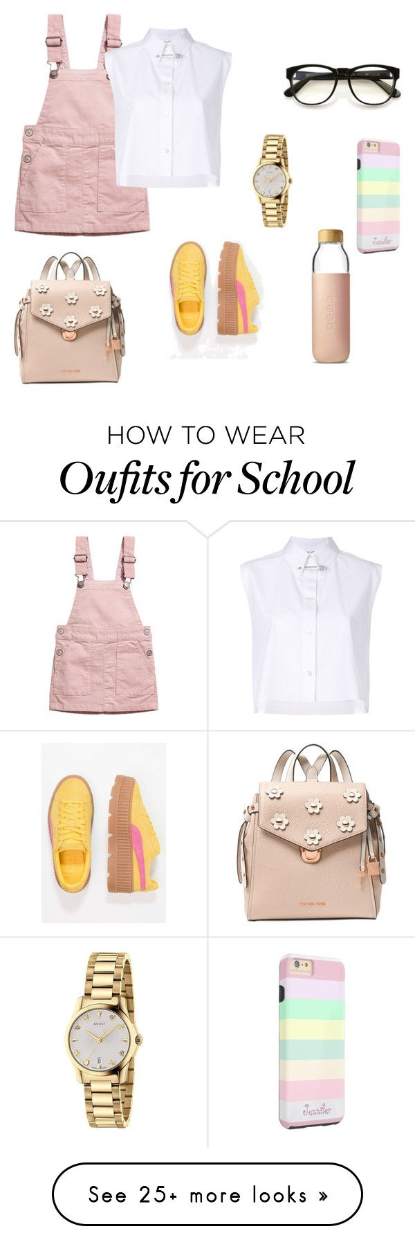 """too cool for school"" by dheazfra on Polyvore featuring H&M, Helmut Lang, Soma, Michael Kors, Wildfox, Gucci and Puma"