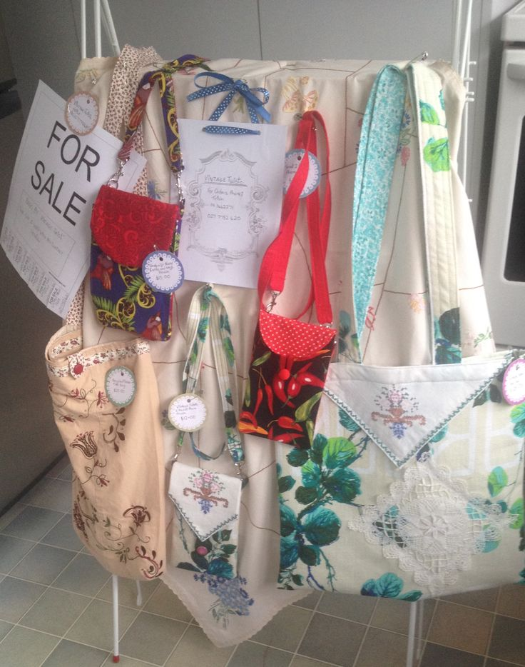 """Vintage and newer fabric phone/keys/cards cross-body bags and recycled clothing bags made by Pintrish at """"Vintage Twist""""."""