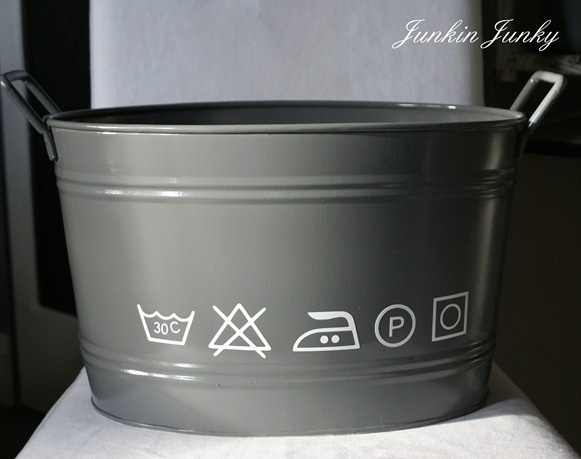 updated old tin tub for laundry supplies