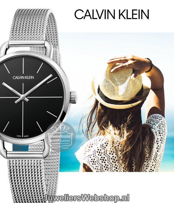 Calvin Klein Even horloge K7B23121 dames staal met zwarte