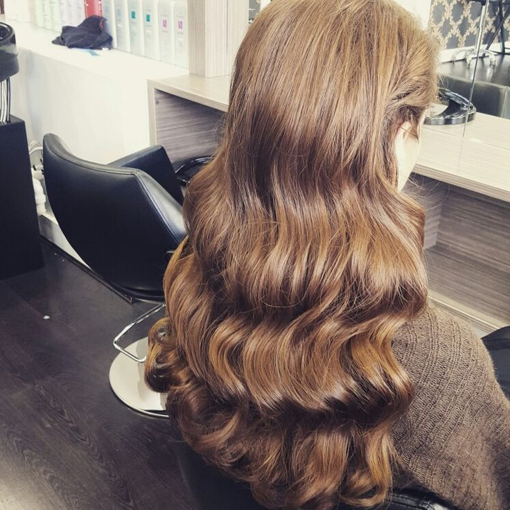 Long hair. Hollywood curls.  House of luxe salon