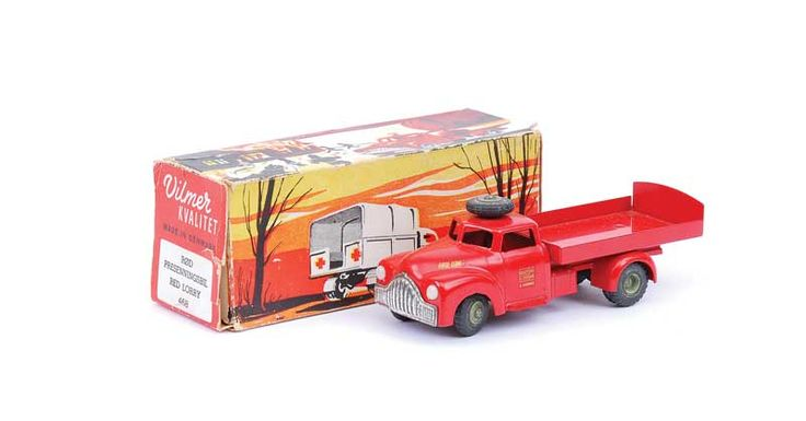 Vilmer No.468 Rode ORM Truck - very scarce model is red, including flatbed with tailboard and sides,