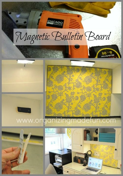 Magnetic Bulletin Board with your favorite fabric + other neat ideas @organizingmadefun.blogspot.com