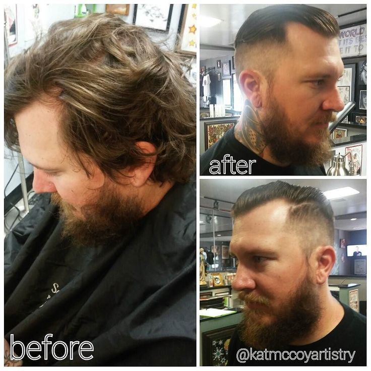 A quick before & after on one of the guys at Goodfellas tattoo shop. He wanted something to slick back like Brad Pitt in Fury. Did a high and tight 1/2 fade and took like 3 inches off the top. Like a whole new guy!! #katmccoyartistry #beforeandafter. #goodfellastattoo #makeover #barbering #highandtight #beardgrooming #tattooartist #orangecounty #westhollywood #hollywood #losangeles #bradpitthair #fades #faded #mensgrooming by katmccoyartistry