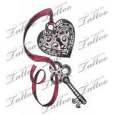 Heart and key tattoo
