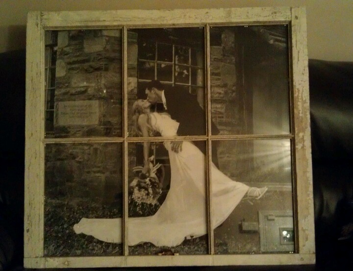 Made by my sister... Antique window frame +staples engineer print