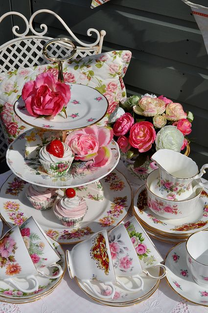 Floral Mismatched Vintage Tea Set and Tiered Cake Stand