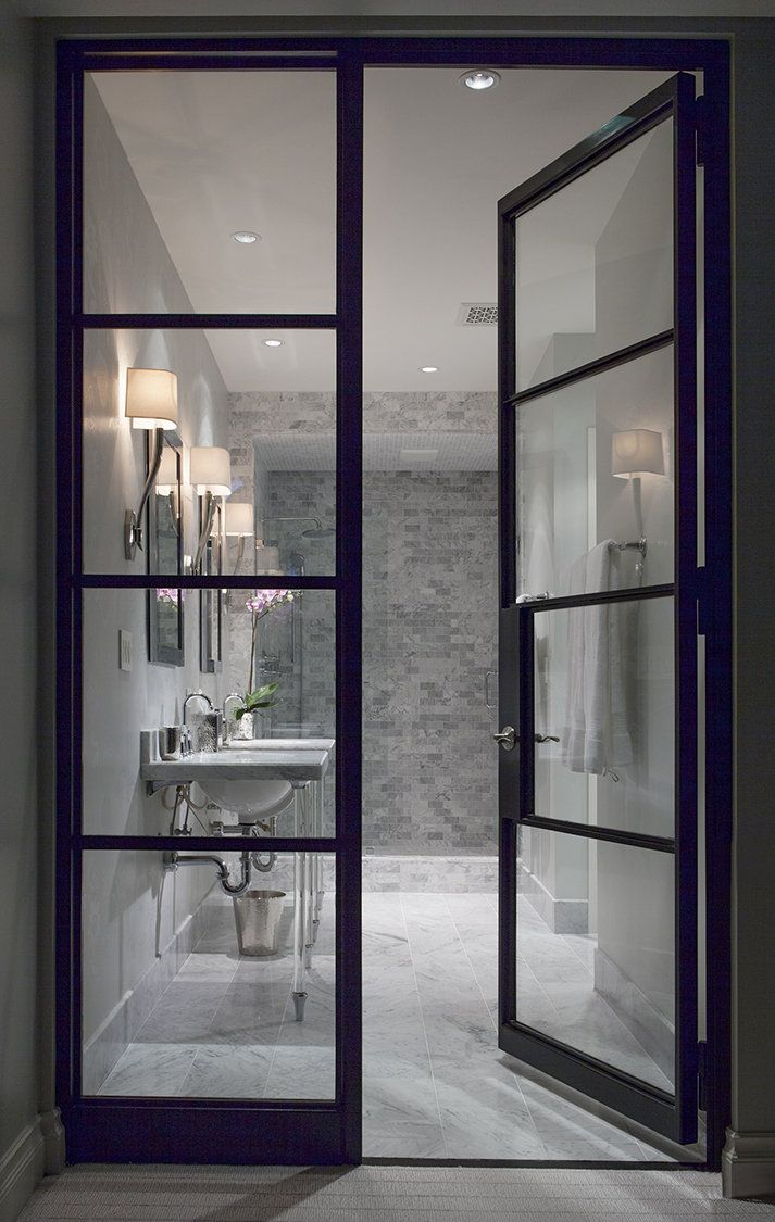 White room interior bathroom see through glass door for Bathroom entrance doors
