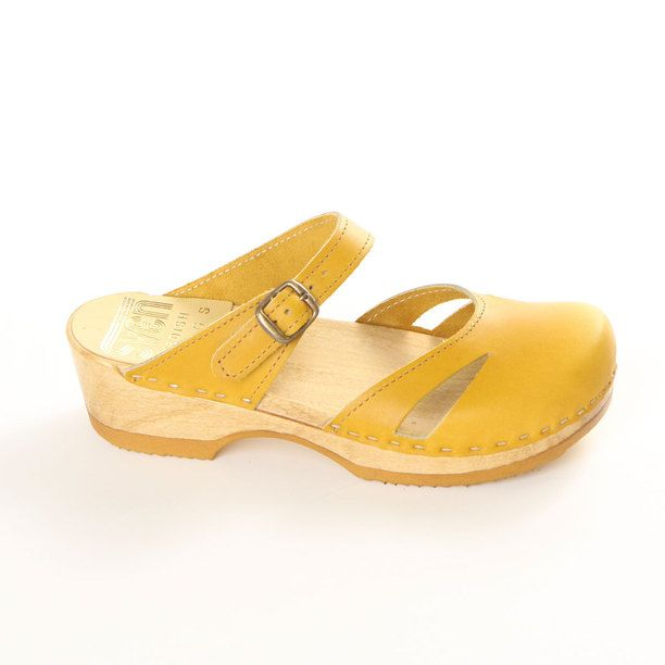 Side Slit Clog Low Pineapple yellow, women's shoes, sven clogs
