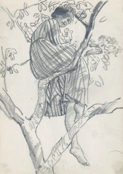 Dame Laura Knight, Study of a Model Relaxing in Tree, ca.1916, pencil on wove paper