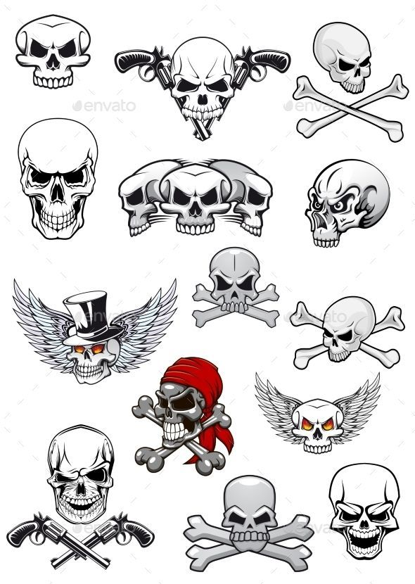 Skull characters for hallowen, pirates and piracy decorated with crossed bones, crossed pistols, wings, tophat and bandanna in bla