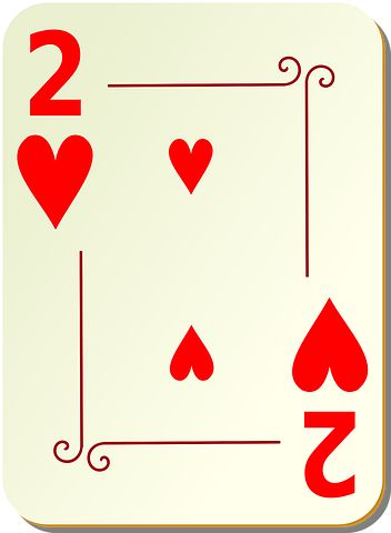 Two, Hearts, Playing Cards, Card