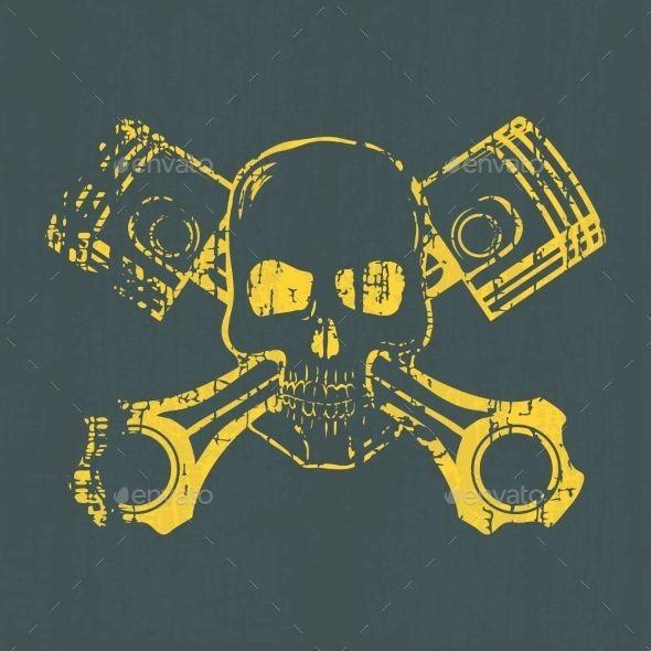 Skull and Pistons - Tattoos Vectors