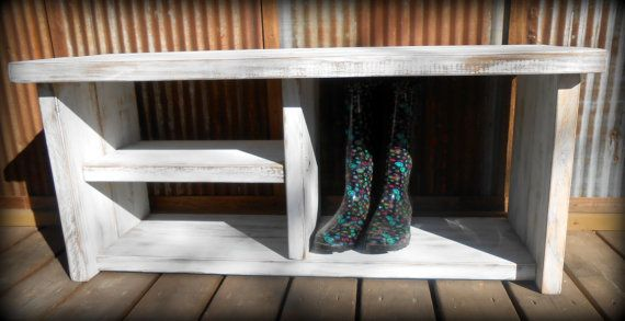42 White Shoe Rack Bench with Boot Cubby by TheHenryHouse on Etsy