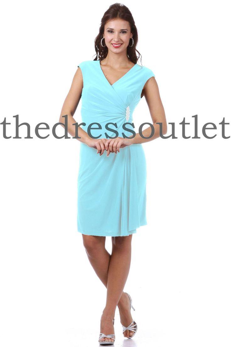 Modest Mother of the Bride Short Dresses Aqua Mermaid Fit V Neck Plus Size Sale