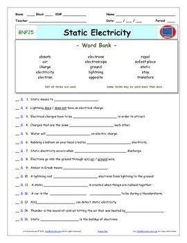 Bill Nye - Static Electricity – Worksheet, Answer Sheet, a