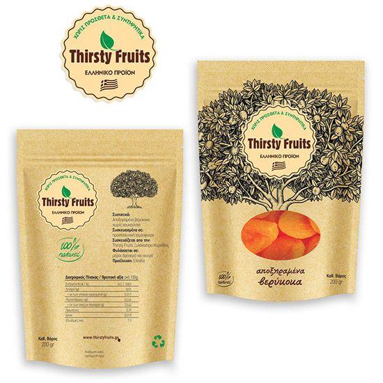 Λογότυπο και συσκευασία για THIRSTY FRUITS, αποξηραμένα φρούτα.