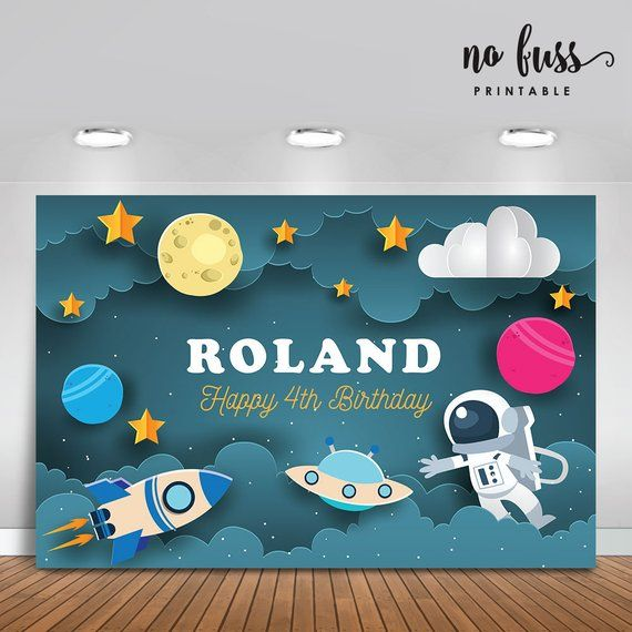 Astronaut Backdrop | Party Banner | Poster | Signage | Personalised | Printable ONLY | Birthday Backdrop