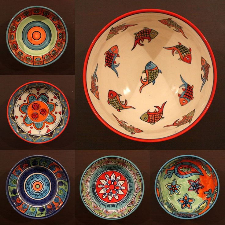 Ceramic Multipurpose Bowls - Multicoloured ceramic bowls beautifully hand painted with vibrant tribal and floral patterns, a perfect accessory for your breakfast or dining table. These multipurpose bowls can be used as either serving or eating bowls for soups, cereal, salads or snacks. These wonderfully crafted pieces combine practical form and function with designer artform.