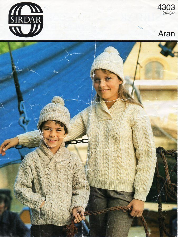 fe3d3bb99 childrens aran sweater and hat knitting pattern pdf cable roll collar shawl  collar jumper cap 24-34