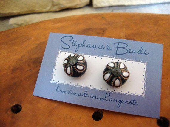 Polymer clay bobbly earring studs Morrocan by Stephshandmadebeads