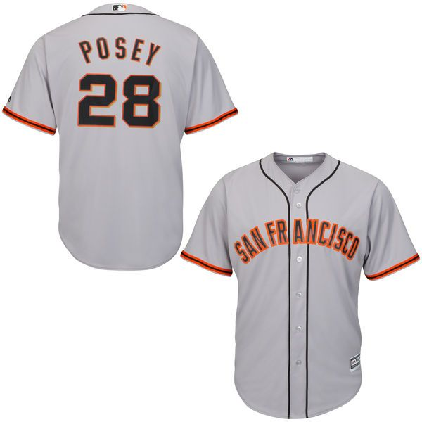 Buster Posey San Francisco Giants Majestic Cool Base Player Jersey - Gray - $119.99