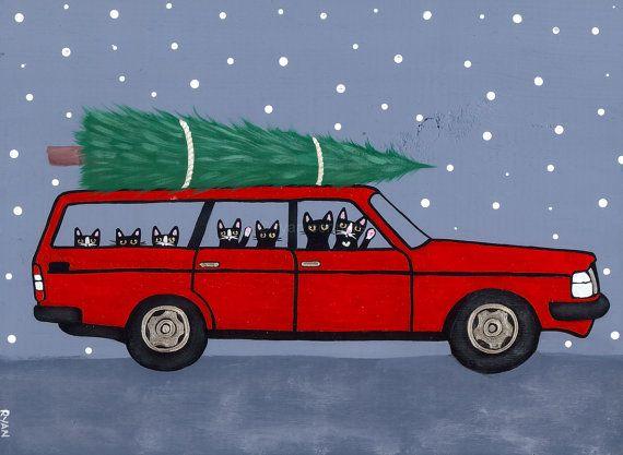 Red Volvo Christmas Cats Original Folk Art Painting - KilkennycatArt  @ Etsy