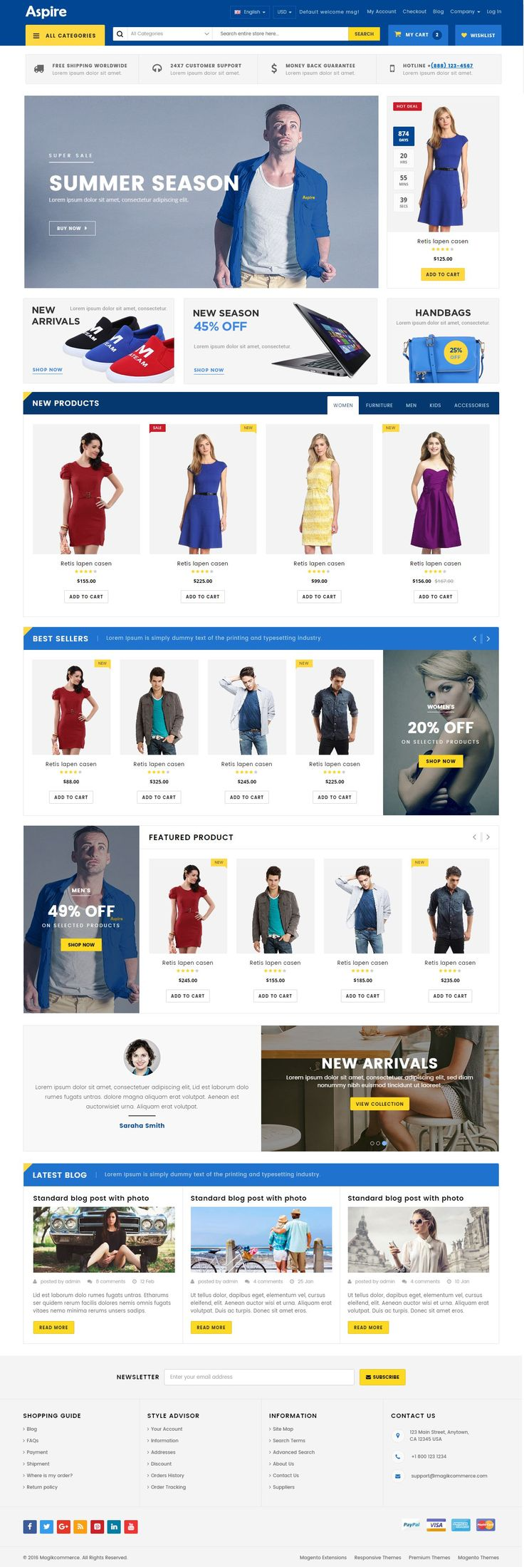 Aspire is a professional e-commerce website template coded with HTML5, CSS3 and Bootstrap 3.3.6 latest version. This template is suitable for fashion, shopping, clothing, wholesale dresses and similar websites. #bootstrapecommerce #HTMLecommerce #ecommercetheme