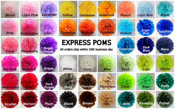 Tissue Paper Pom Poms - 3 Medium Poms - Ships within ONE Business Day on Etsy, $10.50 Comes in coral!!!!