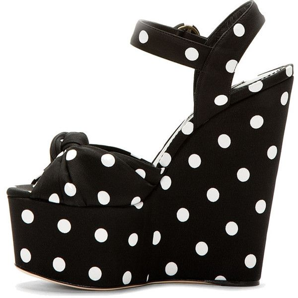 Dolce & Gabbana Black & White Silk Polka Dot Bianca Wedges ($284) ❤ liked on Polyvore featuring shoes, sandals, ankle strap high heel sandals, high heel wedge sandals, black and white wedge sandals, ankle strap wedge sandals and peep toe sandals