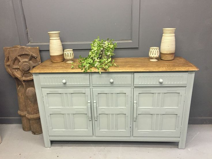 ornate priory sideboard annie sloan duck egg chalk paint shabby chic in home furniture. Black Bedroom Furniture Sets. Home Design Ideas