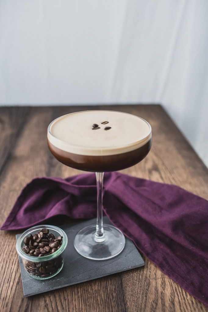 espresso martini 2 oz vodka 1 oz espresso coffee 3/4 oz Kahlua 1/4 oz Creme de Cacao Optional 1 oz Mount Gay rum Ice