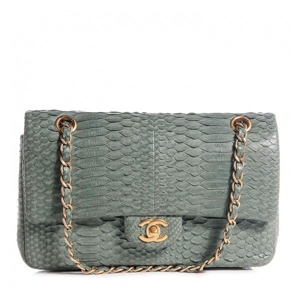 CHANEL Python Medium Double Flap Green ❤ liked on Polyvore featuring bags, handbags, shoulder bags, chanel handbags, green purse, green handbags, snakeskin handbags and python handbag