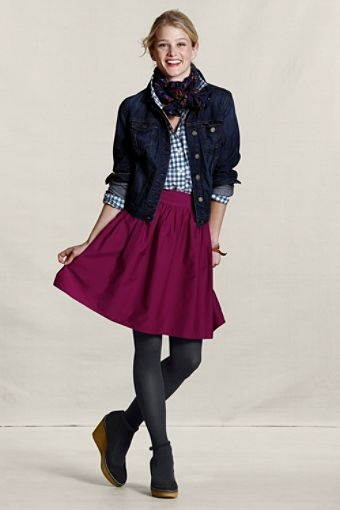 Another example of the jean jacket looking effortlessly cool... I can totally see this skirt at a holiday party (Gathered Taffeta Skirt in Dark Berry, $79.50)