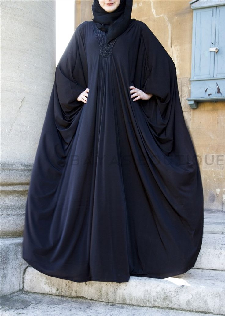 Black Beauty Jersey Abaya Black Beauty has all the charm and modesty. Perfect for plus size and maternity wear. It has a striking star shape sequin detail below the v shape neckline. The Abaya is a freesize and has large butterfly sleeves and is made of