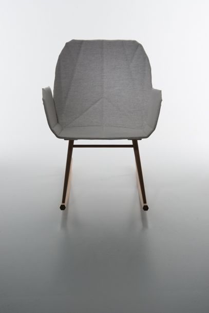"""""""BEEM"""" BY ANNE MJÅSETH at Stockhom Furniture Fair - Greenhouse 2014. Light, small rocking chair with moveable armrests."""