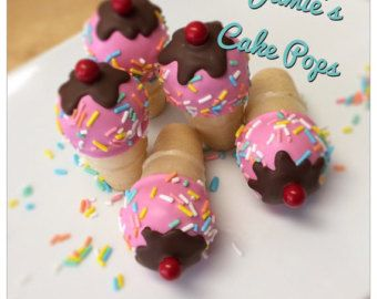 Ice cream cone cake pops by sweetdreamery on Etsy