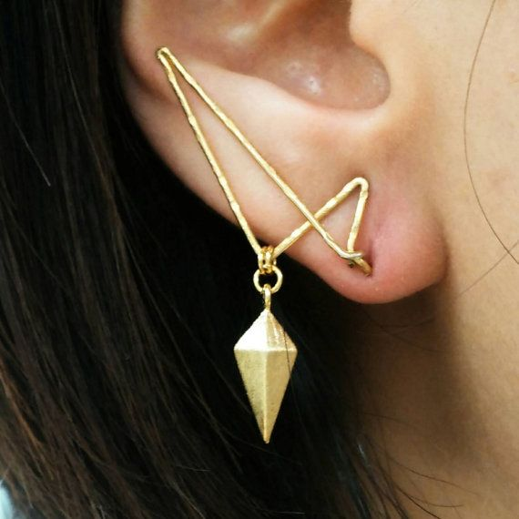 Diamond Shield Ear Jacket Pin / Handmade Simple Unique Earring Gold Ear Jacket Etsy Jewelry Korean Jewelry Unique Gold Jewelry BijouNooy