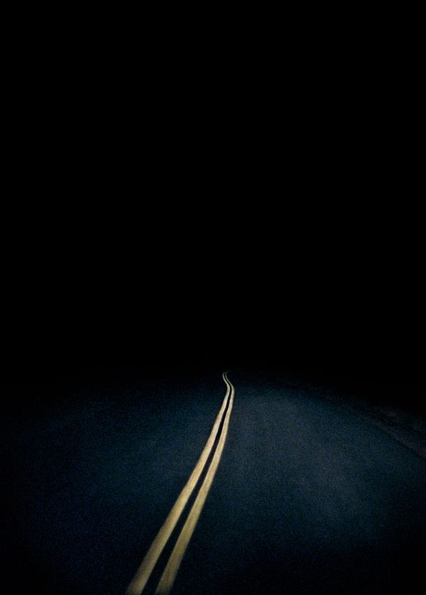 Black night road