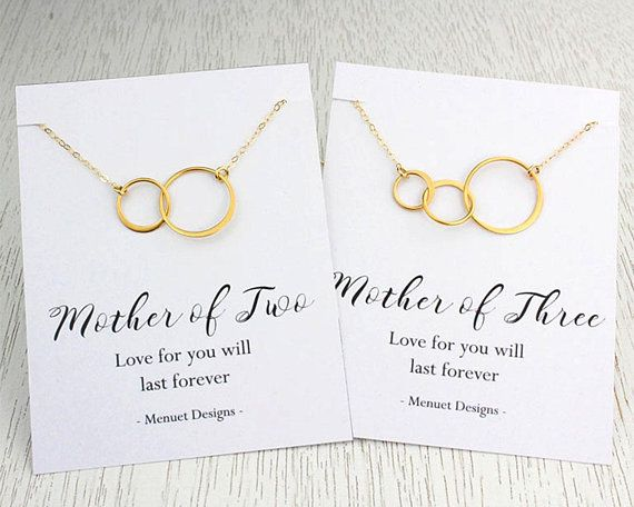 Mother's Day Gift, Mother Eternity Necklace, Mother of Two, Mother of Three Necklace, Gold or Silver, Eternity Love, Birthday Gift for Mom
