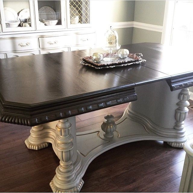 Rita at Restyled Renewed have new life to this damaged table with Java Gel Stain and a little TLC! Isn't it stunning? We suggest our Antique White Milk Paint accented with Burnished Pearl Effects for a similar finish on the base.